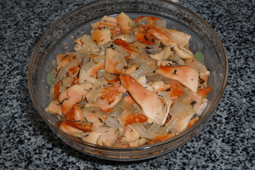 cooked chicken of the woods mushroom